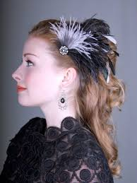 feather hair accessories ostrich feather hair clip in black and gray accessories deanna