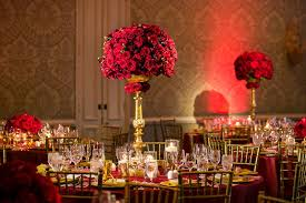 Red And Gold Reception Decoration Reception Décor Photos Arrangement Of Red Roses On Gold Stands