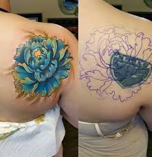 women show side back cover up with awesome blue flower tattoo