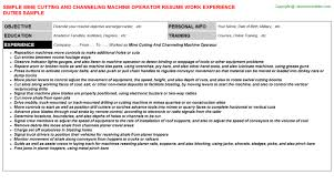 Machine Operator Sample Resume by Cutter Cover Letters