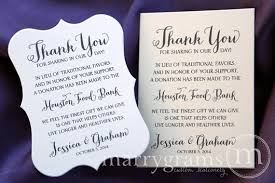 wedding gift donation to charity in lieu of gifts wording for wedding charity wedding donation card