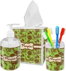 green u0026 brown toile bathroom accessories set personalized