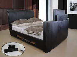 Tv Bed Frames Tv Bed Frame Tilda Black Faux Leather Tv Bed Leather Beds