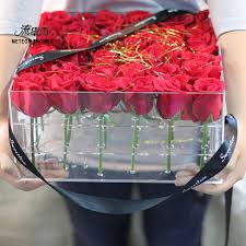 flower gift transparent high end acrylic flowers box bouquets