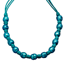 necklace leather cords images Teal ringed freshwater pearl leather cord necklace with sterling jpg