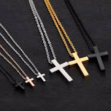 stainless cross necklace images Simple plain tiny cross pendant necklace in stainless steel silver jpg