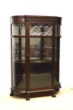 Oak Glazed Display Cabinet Curved Glass China Cabinet Ebay