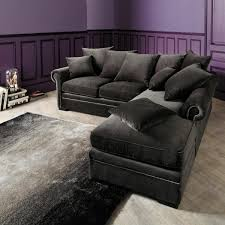 gray sectional sofa with chaise lounge dark grey velvet sectional couch with chaise and pillows decofurnish