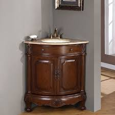 silkroad exclusive single sink 32 inch travertine top corner sink