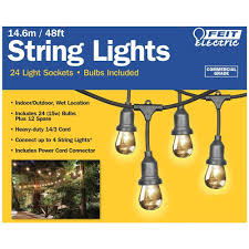 Commercial Patio String Lights by Amazon Com Feit Electric 48ft 14 6m Outdoor String Lights 48