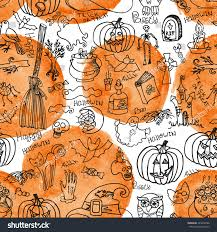 halloween seamless background halloween doodles icons seamless pattern background stock vector