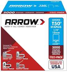 Size Staples For Upholstery Arrow Fastener Heavy Duty Staples 5 000 Count T50 0 5 In