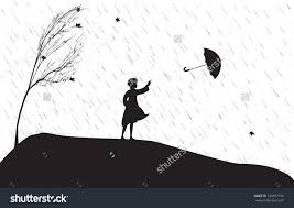 drawing of a in the rain with an umbrella drawing of a