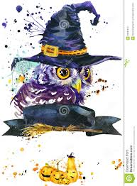 halloween owl and witch hat watercolor illustration background