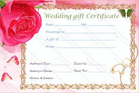 wedding gift card gold frame wedding gift certificate template
