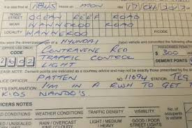 how many points for running a red light driver ticketed for running a red was rushing to get nando s chicken