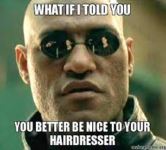 Hairdresser Meme - what if i told you you better be nice to your hairdresser make