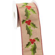 4 embroidered faux burlap ribbon 10 yards ra1257