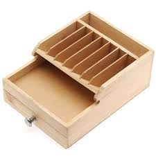 wooden storage box for tools and with storage compartment