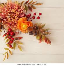 autumn flowers colorful leaves autumn flowers on wooden stock photo 465232391