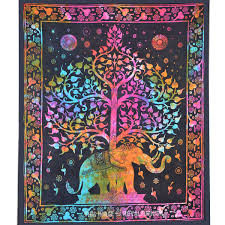 tie dye colorful elephant tree tapestry wall hanging bedspread