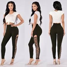 legging jumpsuit european style bodysuit side lace up bandage