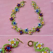 beading flower necklace images How to make colorful flower pearl and seed beads necklace for jpg