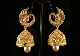 kerala style jhumka earrings golden and white studded jhumka style earring kerala