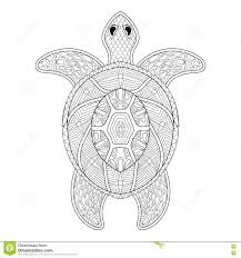 turtle in zentangle style freehand sketch for antistress