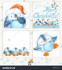 cute christmas penguin watercolor christmas set stock illustration
