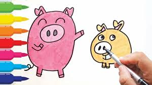 how to draw cartoon cute pig coloring pages for kids 豚を描く