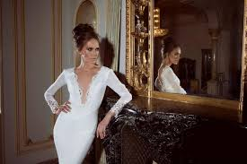 plunging neckline wedding dress neckline sleeved wedding dress with lace embroidery