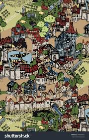 medieval village town city colored drawing stock illustration