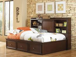elegant remarkable full size storage bed with bookcase headboard