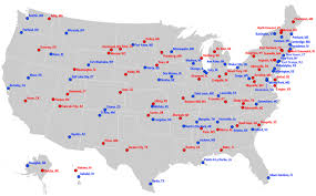 map of america with cities most liberal and most conservative cities in us states maps