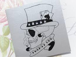 handmade birthday card 21st pontoon skull tattoo vickilicious