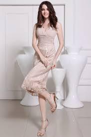 robe en dessous des genoux robe de soirée de mariage mi longue à jupe en dentelle champagne