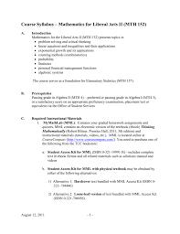 mathematics for liberal arts ii mth 152