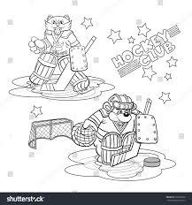 funny cartoon charactershockey goalkeepers wild cat stock vector