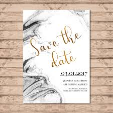 Invitation Card Printers Marble Wedding Save The Date Card Print At Home File Or Printed