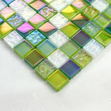 Mosaic Tile Backsplashes by Stained Glass Mosaic Tiles Green Crystal Glass Tile Backsplash
