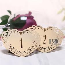 Laser Cut Table Numbers Rice Gold Heart Shape Laser Cut Table Number Cards Wedding Party