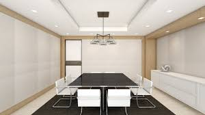 Glass Boardroom Tables Conference Room With Black Leather Tufted Arm Chairs And Long