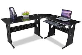L Shaped Black Glass Desk Office Desk Black Glass Corner Desk White L Shaped Computer Desk