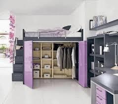 cool loft bed with under storage purple door wooden wardrobe matte