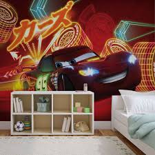 boys room wall murals for wall homewallmurals co uk neon cars 2 wallpaper mural