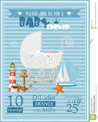 baby shower boy invitation template vector illustration with