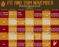 fit and trim november a monthly fitness calendar
