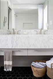 gray ceramics wall tile comes with white marble floor and bathroom