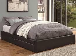 Black Leather Platform Bed Coaster Upholstered Beds Queen Storage Bed With Black Leather Like